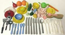 Lot Of Vintage Mini Dollhouse Plastic Dishes Cookware Food