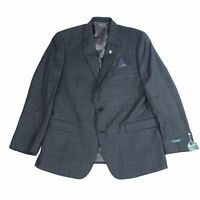 Lauren by Ralph Lauren Mens Blazer Gray Size 50 Plaid Printed Wool $450 #035