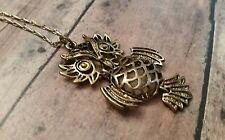Owl necklace, bronze, filigree, long, statement, fashion jewelry