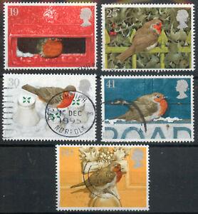GB 1995 Christmas: Robins birds set SG 1896-1900 used *COMBINED POSTAGE*