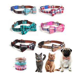 Dog Collar Lead Original Design Leather Pet Collar With Tartan Bow Decoration