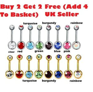 Belly Bar Surgical Steel Double Crystal Gem Navel Bar Button Ring Belly Bars UK