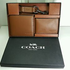 Coach Sport Leather Billfold Compact ID Wallet Gift Set in Dark Saddle F64118