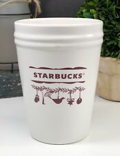 Starbucks 2010 White Christmas Canister Planter Rustic Farmhouse Collectible