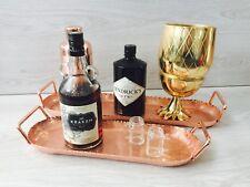 MODERN COPPER ROSE GOLD DRINKS TRAY SERVING HANDLES HAMMERED TROLLEY BAR KITCHEN