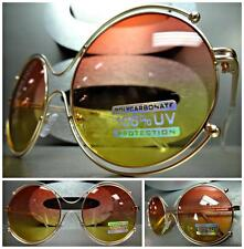 CLASSIC VINTAGE RETRO Style SUN GLASSES Round Rose Gold Frame Pink & Yellow Lens