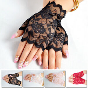 Fingerless Gloves Lace Gloves Summer Sun Protection Women Driving Gloves Bride c