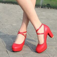 Hot Womens Ladies High Heel Chunky Buckle Strap Party Dating Wedding Sweet Shoes
