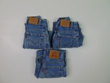 Lot of 3 Vtg Levis 550 Boys Size 7 Relaxed Fit Blue Jeans Light Wash Red Tab 90s