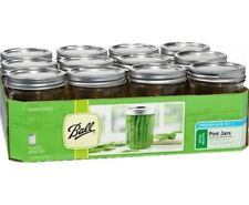 Vintage New Ball 12-1 Pint Clear Glass Wide Mouth Canning Mason Jars Lids,16 oz