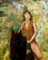 painting decor art landscape collectible impressionism woman on horseback