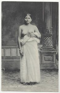 1909 Ethnic NUDE Woman from Ceylon, Youthful & Pretty - Vintage Postcard