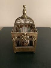 """Decorative Antique Gold  Bird Cage -14.5"""" H With Cherub. Wedding Centerpiece"""
