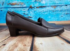 """Trotters Brown Leather Loafer  with 2"""" Heel Women's Size 8 WW"""