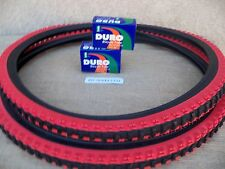 [2] 26'' X 1.95 BLACK & RED MOUNTAIN BIKE TIRES  &  [2] TUBES [ MTB, TRICYCL ETC