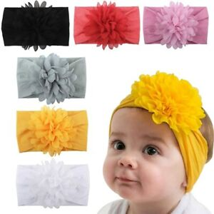 6 Pcs Baby Girls Headbands with Chiffon FLowers Soft Headwraps Infant Head Bands