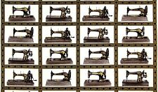 Sewing With Singer Black Vintage Sewing Machine Blocks Cotton Fabric Yardage  H3