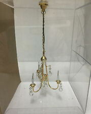 Miniature Crystal 12 Volt Electric CHANDELIER HANGING LAMP Dollhouse Scale 1:12