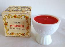 Vintage Avon Potpourri Fragrance Candle Unused in White Milk Glass 1973