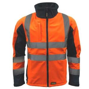 Standsafe Reflective High Visibility Hi Vis Soft Shell Jacket, Orange Grey