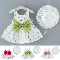 Summer 2PCS Infant Toddler Baby Kids Girls Dot Print Princess Dress Hat Outfits