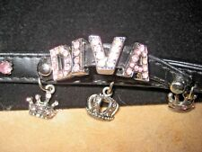 "Mud Pie Mup Puppies Black DIVA Collar Pink Jewels 3 Crown Charms L 15""-17"" neck"