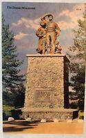 Postcard CA Donner Monument Truckee California Linen Tahoe  Unposted