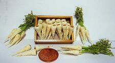 1:12th Wooden Tray Of Parsnips +3 Bunches Dollhouse Miniatures