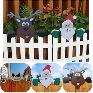Santa Claus Fence Peeker Christmas Decorations Outdoor Festivity To The Occasion