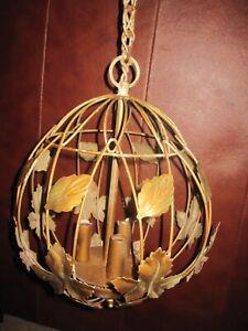 Vintage Toleware Metal Leaf Hanging 3 Light Globe Chandelier Lamp
