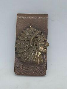 VTG Handmade Copper Bronze Indian Chief's Head Money Clip