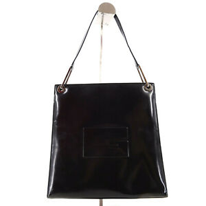 Gucci Vintage Black Patent Leather Top Handle Tote Bag - Made in Italy Y2K