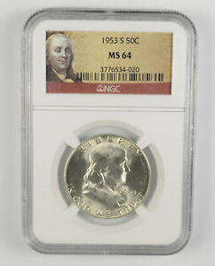 MS64 1953-S Franklin Half Dollar - 90% SILVER - NGC Graded *627