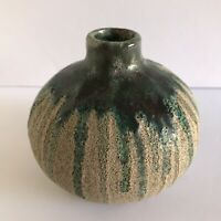 Vintage Artist Signed Pottery Pot Bud Vase Bulbous Drip Glaze Raw & Smooth