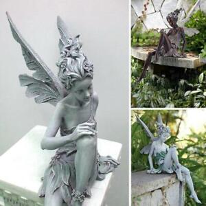 Tudor und Turek sitzende Fee Statue Garten Ornament Handwerk Blumenfee NEU