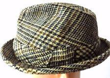 Vintage United Hatters Cap & Millinery Tweed Houndstooth/Plaid Fedora Hat, 7 1/8