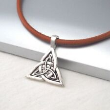 Silver Alloy Celtic Knot Triquetra Symbol Pendant Brown Leather Cord Necklace