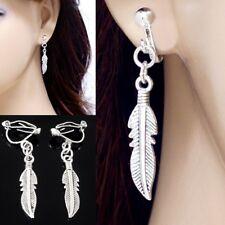 #E121K Pair Women Men Dangle Feather Wing CLIP ON NON-PIERCED EARRINGS 3.8cm NEW