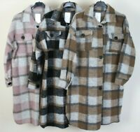 New Ladies Check Wool Mix Layering Casual Jacket Shacket Comfy Long Shirt Coat