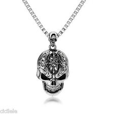 Unisex's Stainless Steel Skull Head Pendant Box Chain Men Rock Punk Necklace