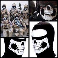 Outdoor Motorcycle Full Face Mask Balaclava Ski Neck Protection Black Skull