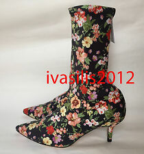 ZARA NEW WOMAN FLORAL FABRIC HIGH HEEL ANKLE BOOTS 35-41 REF. 1113/201