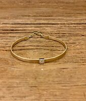 14k Yellow Gold Diamond Bangle Solid Bracelet Round Natural .06 Ct Adjusted Her