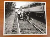 Vtg Glossy Press Photo Natick MA West MBTA Fatal Commuter Train Accident #2