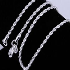 Fashion Exquisite 925 Sterling Silver Twisted Rope Link Chain Lobster Clasp SP
