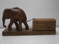 Vintage Mid Century hand carved teak elephant hauling trinket coffer sculpture