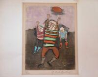 Rare Vtg Etching Graciela Rodo Boulander Signed Football Art Print Lmtd #113/120