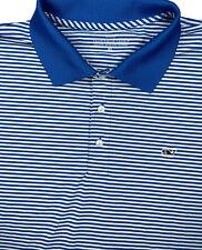 Vineyard Vines Men XL Short Sleeve Golf Performance Polo Shirt White Blue