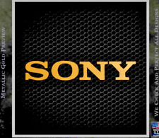1x  Sony Gold Logo Sticker Tvs Play Station 60mm x 10mm Approx