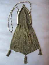 Antique Art Deco Gold T Cathedral Frame 3 Fancy Chain Side Tassel Mesh Purse #6